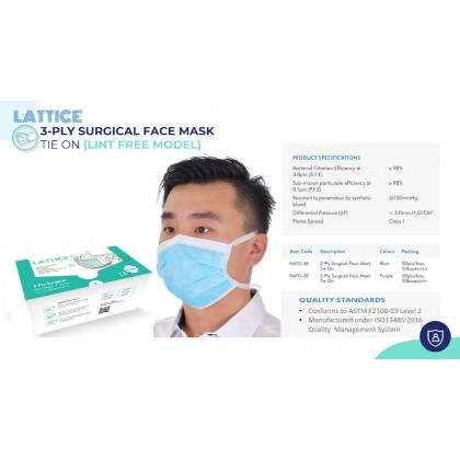 3-Ply Surgical Face Mask Tie On - 2 Boxes